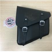 Bolsa de Balança em Couro - Motivo Bar & Shield - HD Softail - Tam Pequeno - Preta - 008/40404