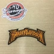 Bordado Motivo Harley Davidson Curvo - Laranja - 15 cm x 4,5 cm - 022/29906