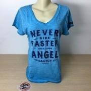 Camiseta Feminina Never Fast Angel - Kallegari - Azul - Tam GG - 040/18602