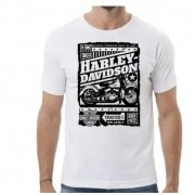 Camiseta Masculina - Motivo Harley-Davidson - Branca Mod 07 - 026/23200