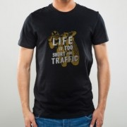 Camiseta Preta Life is Too Short for Traffic - NOISE - 100% Algodão - 026/69406