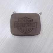 Carteira Em Couro Com Zíper - Logo Harley-Davidson - Marrom - 022/17605