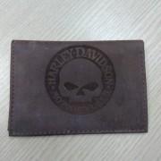 Carteira Porta Documento Em Couro Marrom Escuro - Logo Skull - 022/14006