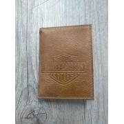 Carteira Em Couro com Visor - Modelo Bar & Shield - Trifold - Caramelo - 022/12306