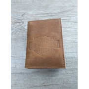 Carteira Em Couro com Visor - Modelo Bar & Shield - Trifold - Caramelo - 022/34705