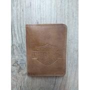 Carteira Em Couro com Visor - Modelo Bar & Shield - Trifold - Caramelo - 022/96600
