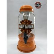 Chopeira Vidro e Metal - Motivo Harley-Davidson - Laranja - 022/82907