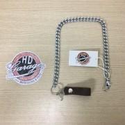 Corrente Para Carteira com Prendedor e Couro Marrom - Aço Cromado - 50cm - 022/44207
