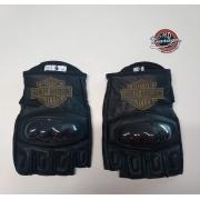 Luva De Couro - Meio Dedo com Proteção Rígida - Preta Logo HD - 033/50568
