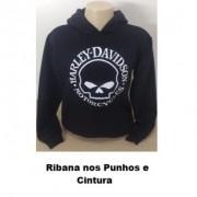 Moletom Canguru Com Capuz - Motivo Harley-Davidson Skull - Preto - 023/79708