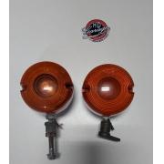 Piscas Dianteiros Originais - HD Softail Evo - Cromados com Lentes Laranja - Par - 001/28002