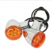 Piscas Traseiros Cromados com Lentes Laranja - LED - HD Multifit - Par - 001/33404