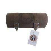 Porta Ferramentas Em Couro - Motivo Skull - Tam Pequeno - Marrom - 008/40564