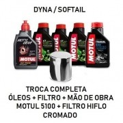 TROCA DE ÓLEOS - DYNA /SOFTAIL - MOTUL 5100 - 15W50 - FILTRO CROMADO - OF36004