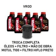 TROCA DE ÓLEOS - VROD - MOTUL 7100 - 20W50 - FILTRO PRETO - OF36012