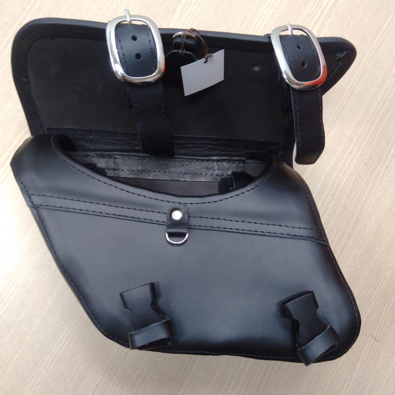 Bolsa de Balança em Couro - Motivo Bar & Shield - HD Dyna - Preta - 008/62203