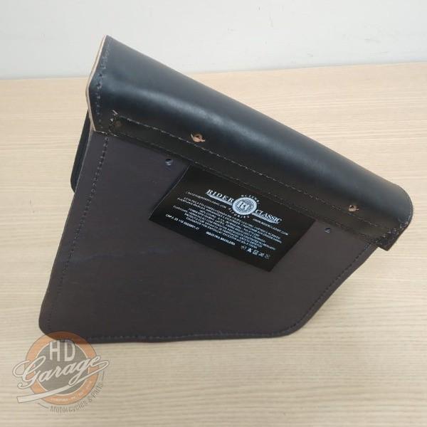 Bolsa de Balança em Couro - Motivo Bar & Shield - HD Sportster - Tam Médio - Preta com Bordas Lixadas - 008/85801