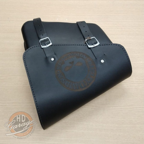 Bolsa de Balança em Couro - Motivo Skull - HD Sportster - Tam Médio - Preta - 008/04506