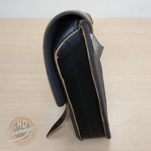 Bolsa de Balança em Couro - Motivo Skull - HD Sportster - Tam Médio - Preta com Bordas Lixadas - 008/50204