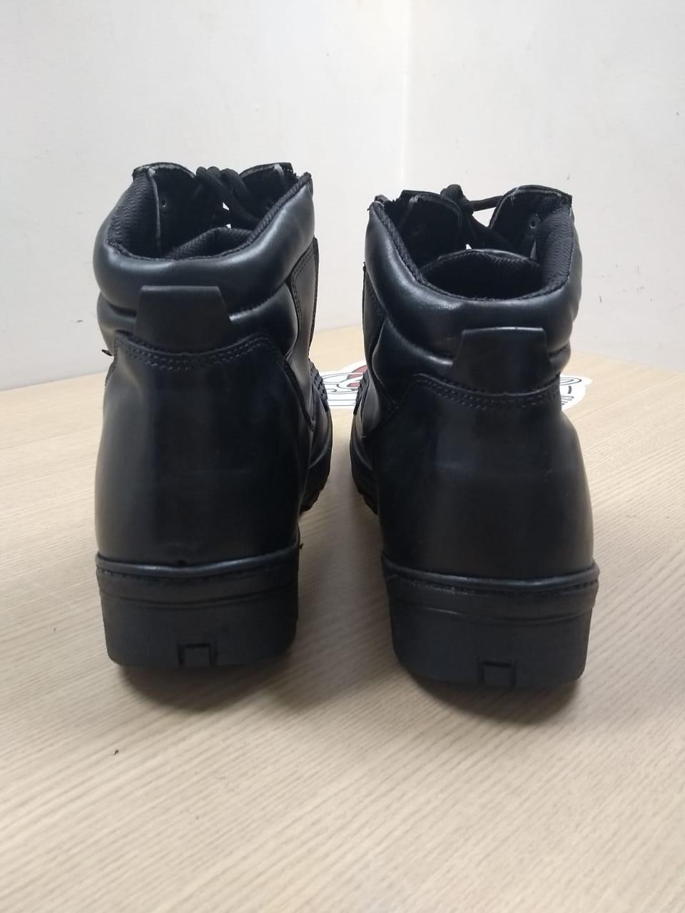 Bota De Couro Masc - Cano Médio - Com Proteção para Troca de Marcha - Preta - Tam 47 - 021/97128