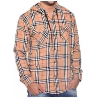 Camisa de Flanela com Capuz - Xadrez Caramelo/Preto/Branco - 026/88200