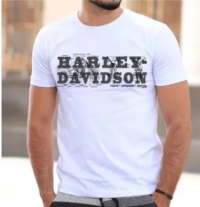 Camiseta Masculina - Motivo Harley-Davidson - Branca Mod 02 - 026/55084
