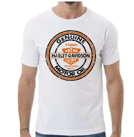 Camiseta Masculina - Motivo Harley-Davidson - Branca Mod 03 - 026/60900