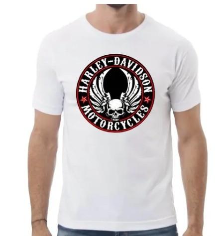 Camiseta Masculina - Motivo Harley-Davidson - Branca Mod 06 - 026/67703