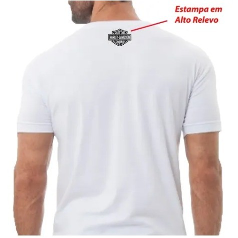 Camiseta Masculina - Motivo Harley-Davidson - Branca Mod 09 - 026/54000