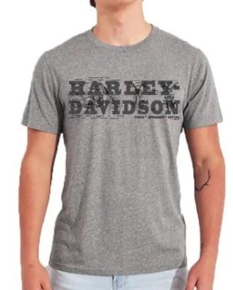 Camiseta Masculina - Motivo Harley-Davidson - Cinza Mod 02 - 026/00802