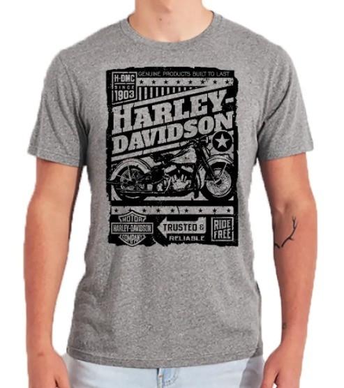 Camiseta Masculina - Motivo Harley-Davidson - Cinza Mod 07 - 026/71809