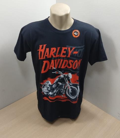 Camiseta Masculina - Motivo Harley-Davidson - Preta / Laranja - 026/42608