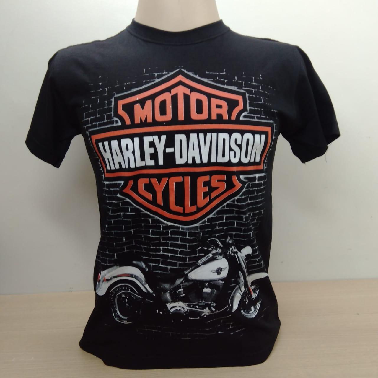 Camiseta Masculina - Motivo Harley-Davidson The Wall - Preta - 026/51602