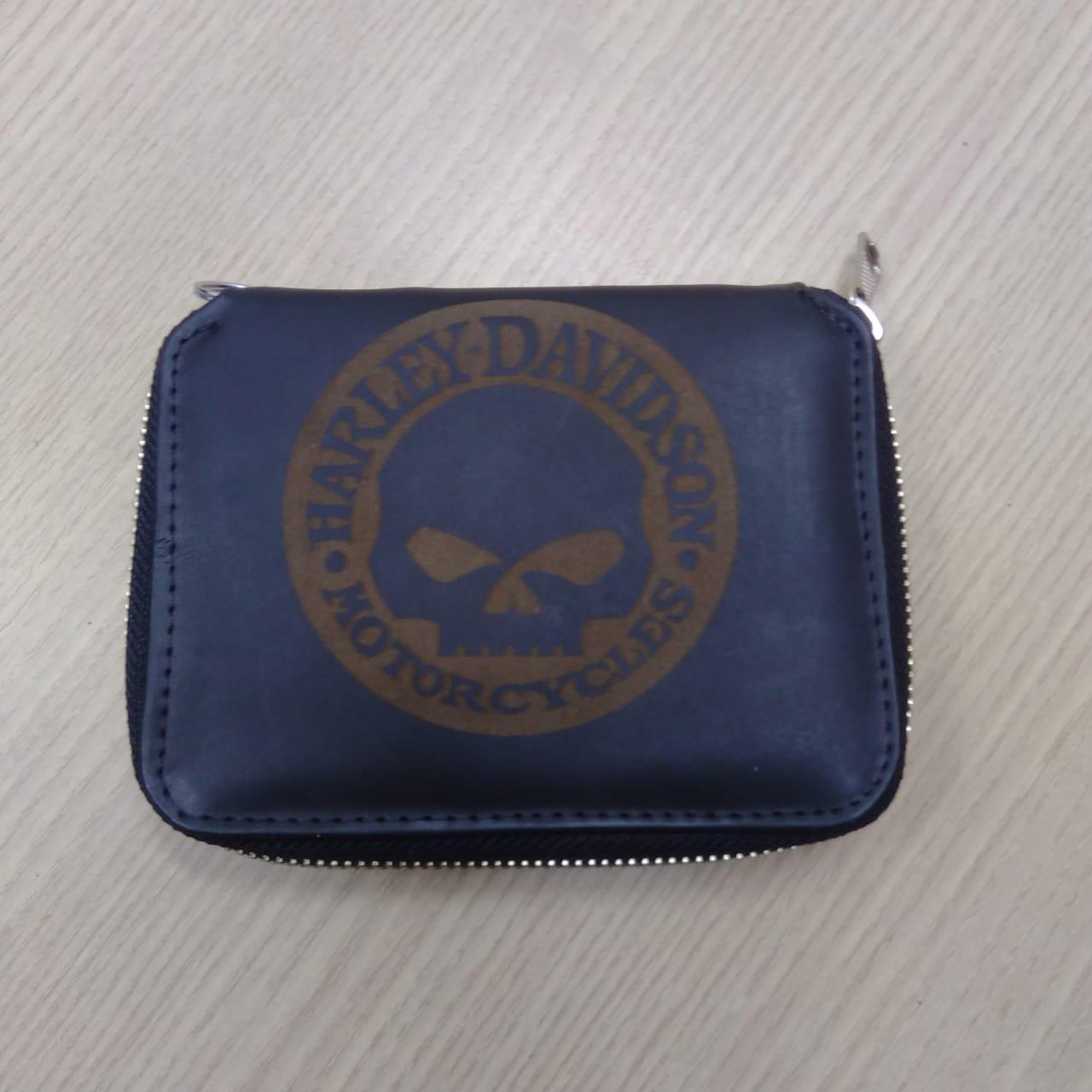 Carteira Em Couro Com Zíper - Skull Harley-Davidson - Preta - 022/13001