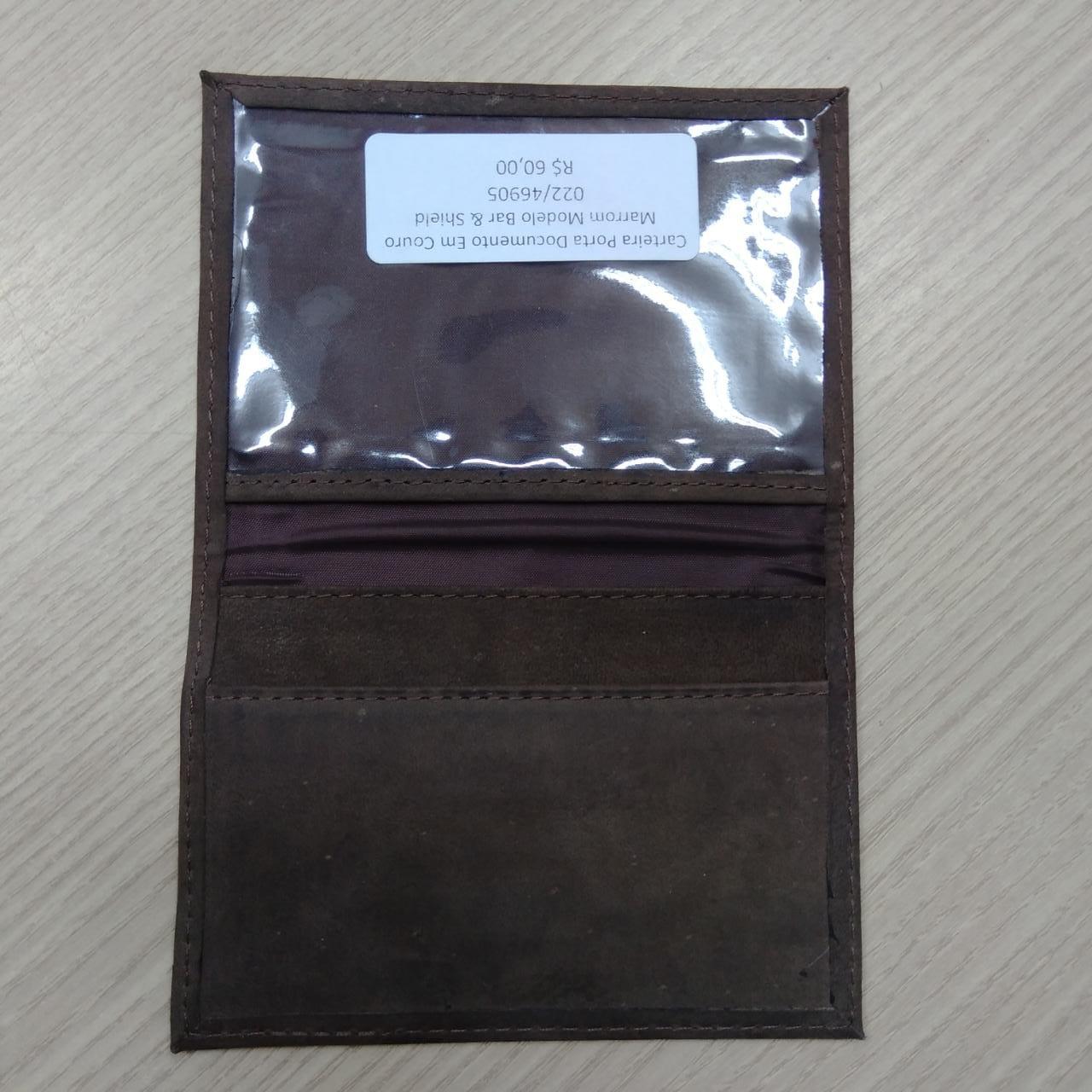 Carteira Porta Documento Em Couro Marrom Escuro - Modelo Bar & Shield - 022/46905