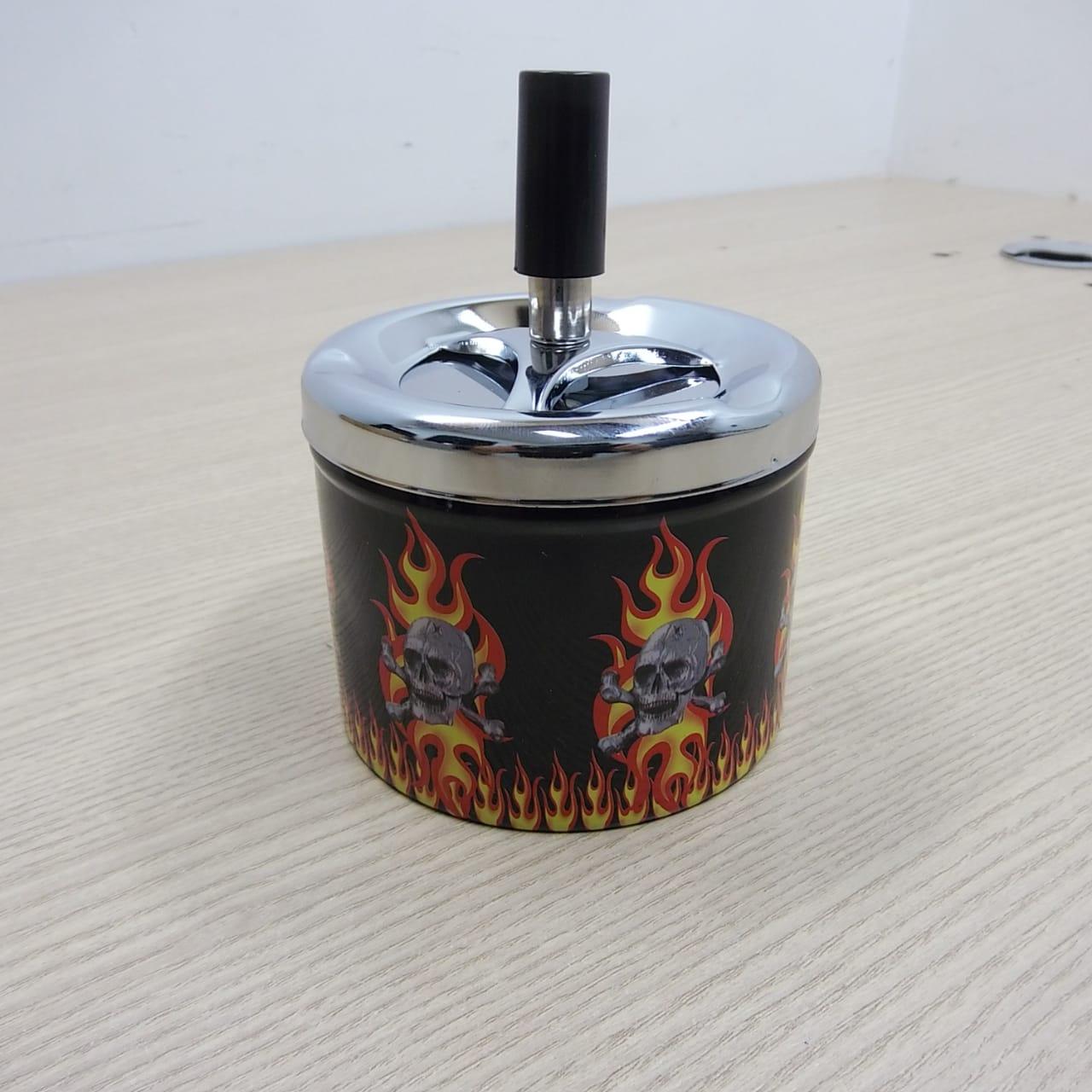REPORCinzeiro Porta Bituca em Metal Motivo Caveiras - Modelo 01 - 022/08086