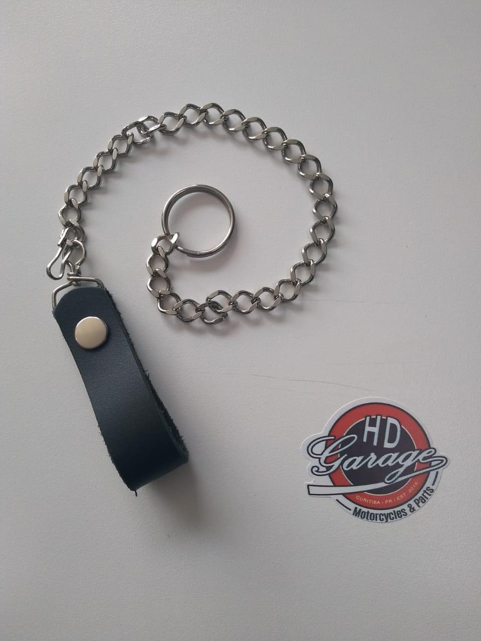 Corrente Para Carteira - Aço Cromado e Couro Preto - 28 cm - Argola - 022/77405