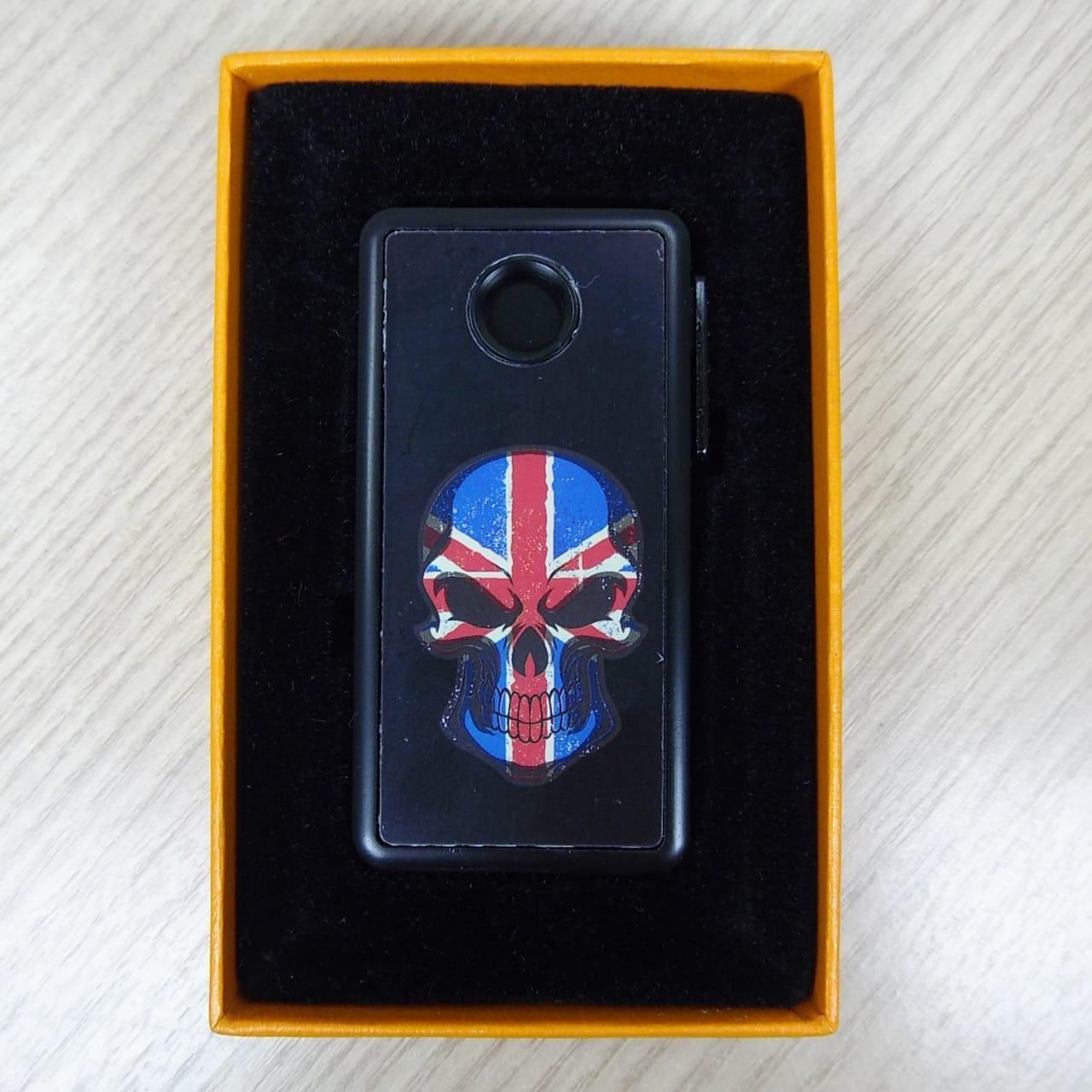 Isqueiro Elétrico em Metal com Carregador USB - Motivo Caveira Britânica - 022/76803