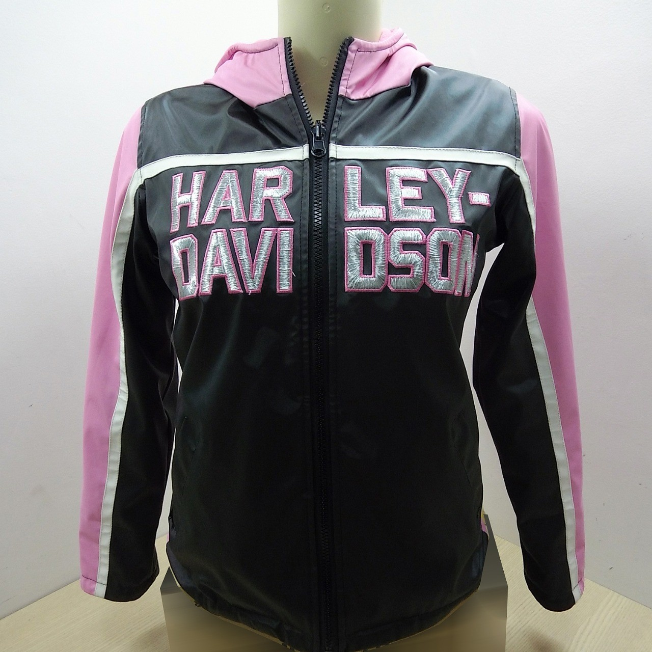 Jaqueta Dupla Face - Nylon / Fleece - Harley-Davidson Kids10/12 - Rosa/Preto/Branco - 042/19700