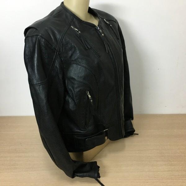 Jaqueta Feminina em Couro - Harley-Davidson - Perfurada - Preto - Tam XL - 042/70005