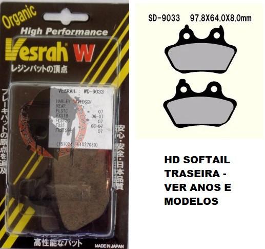 Pastilha de Freio Traseira - HD Softail 06-07 - Vesrah WD-9033 - Semi-Met Orgânica - 005/16407