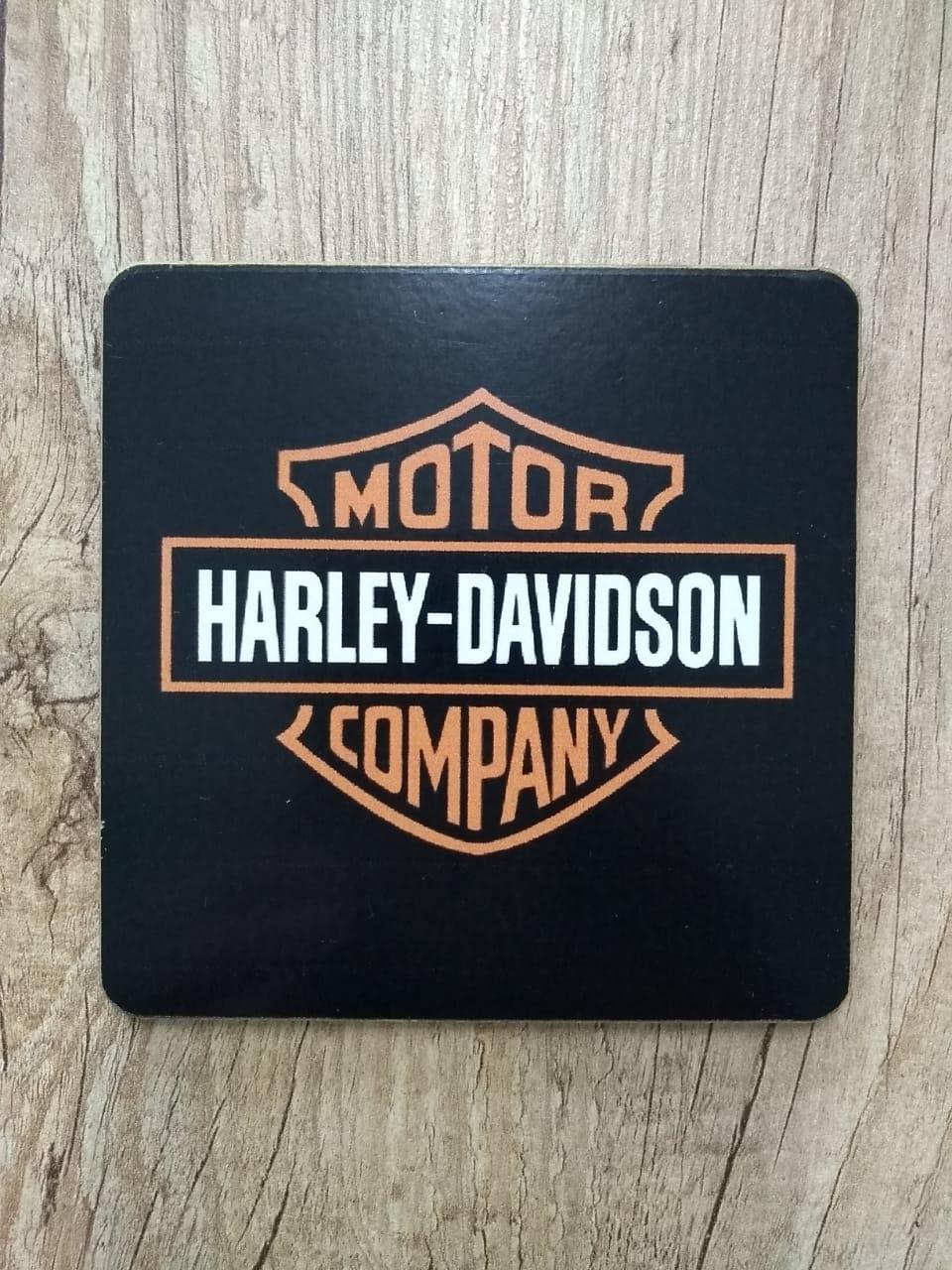 Porta Copos Artesanal em Madeira - Motivo Harley-Davidson - Quadrados - 6 unid - 022/15785