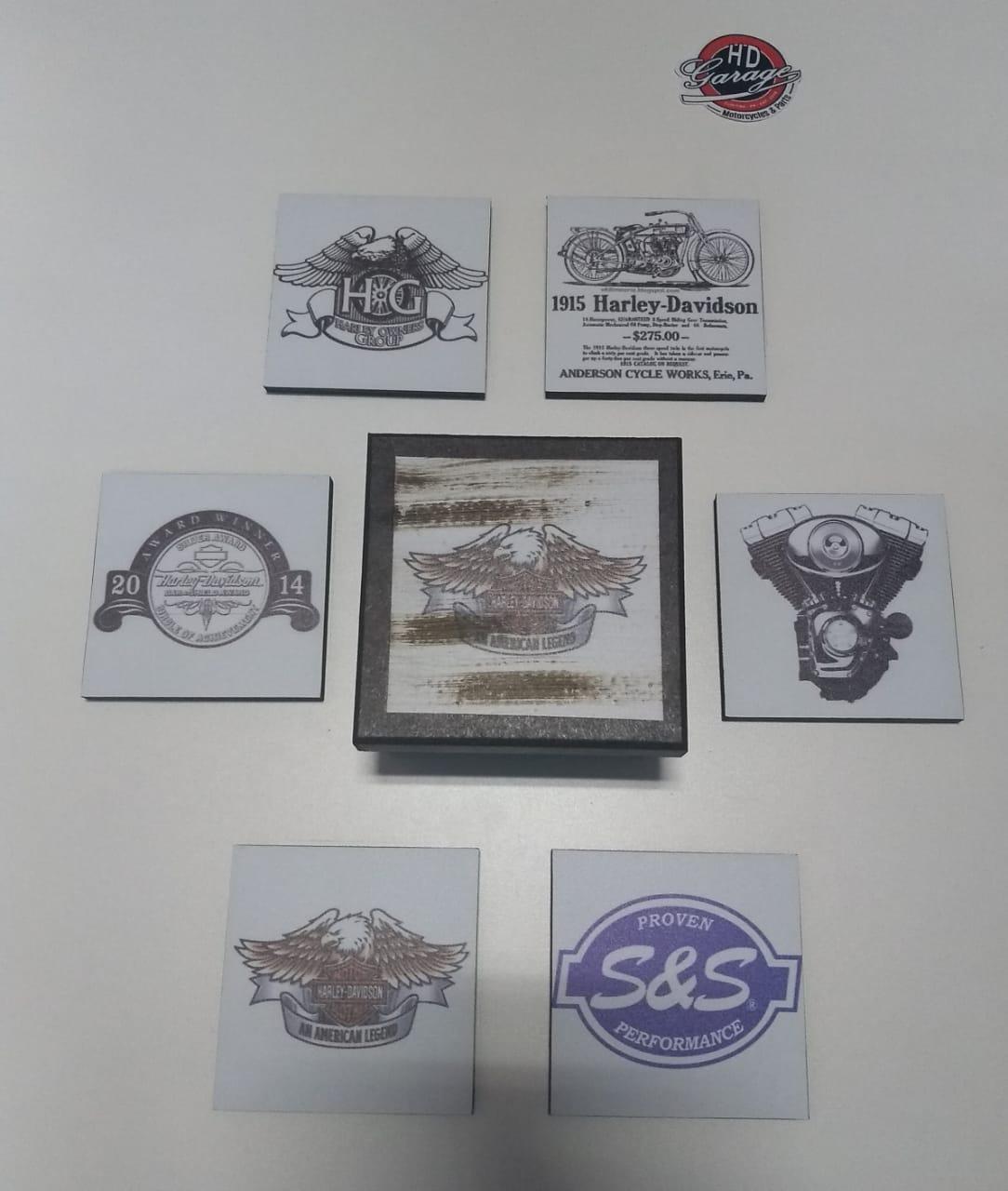 Porta Copos Artesanal em Madeira - Quadrados - 6 unidades - Modelo 14 - 022/29501