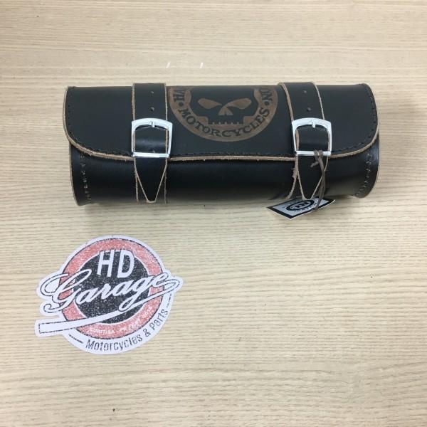 Porta Ferramentas Em Couro - Motivo Skull - Tam Pequeno - Preto com Bordas Lixadas - 008/63104