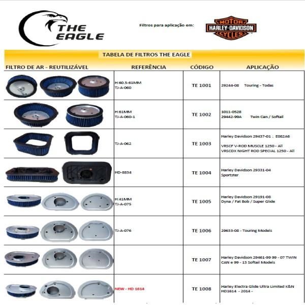TE 1003 - Filtro De Ar The Eagle Hd Vrod Models - 016/13002