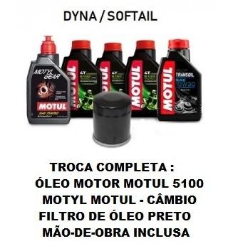 TROCA DE ÓLEOS - DYNA /SOFTAIL - MOTUL 5100 - 15W50 - FILTRO PRETO - OF36003