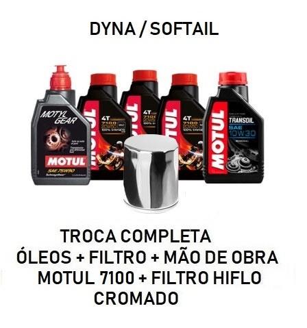 TROCA DE ÓLEOS - DYNA/SOFTAIL - MOTUL 7100 - 20W50 - FILTRO CROMADO - OF36013