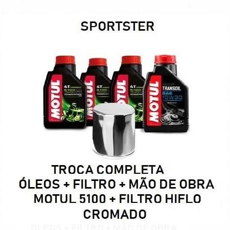 TROCA DE ÓLEOS - SPORTSTER - MOTUL 5100 - 15W50 - FILTRO CROMADO - OF36002