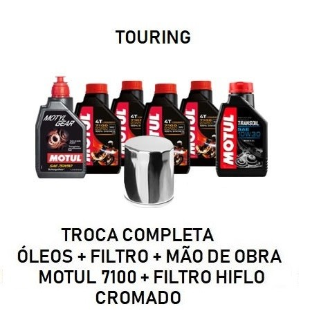 TROCA DE ÓLEOS - TOURING - MOTUL 7100 - 20W50 - FILTRO CROMADO - OF36015