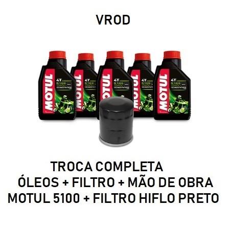 TROCA DE ÓLEOS - VROD - MOTUL 5100 - 15W50 - FILTRO PRETO - OF36007